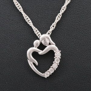 Necklace with Mom/Child Pendant Sterling Silver